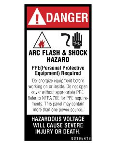 Danger/Arc Flash & Shock Hazard Label