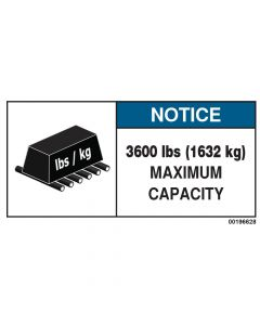 3600 LBS Capacity Label