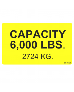 Label for load capacity of 6,000 lb for FA-6 and BLB-6000 models