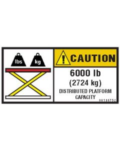 6000 lb Capacity Label