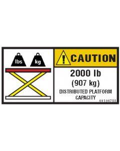 2000 lb (907 kg) Capacity Label