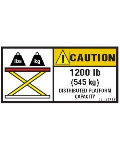 1200 lb Capacity Label