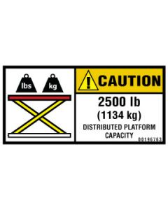 2,500 lb (1134 kg) Capacity Label