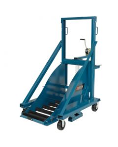 Winch operated forklift battery transfer carriage