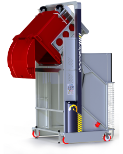 Megadumper Hydraulic Bin Tipper with red bin