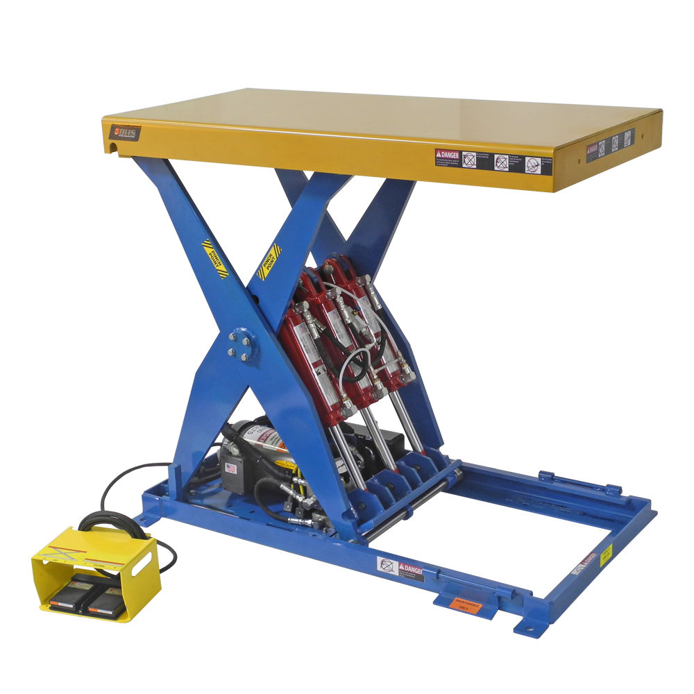 Mobile Lift Tables are equipped with push bars and casters for easy transport and maneuverability anywhere in a facility.